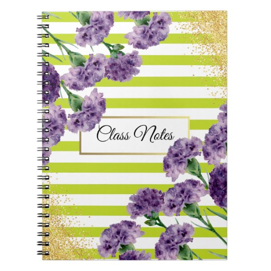 Lime Green Stripes Purple Carnations Gold Confetti Notebook