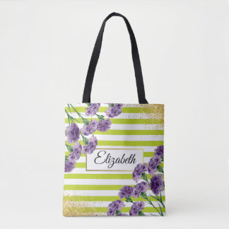 Lime Green Stripes Purple Carnations Gold Confetti Tote Bag