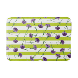 Lime Green Stripes Purple Carnations Pattern Bath Mat
