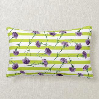 Lime Green Stripes Purple Carnations Pattern Lumbar Cushion