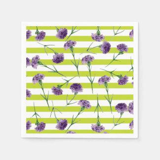 Lime Green Stripes Purple Carnations Pattern Paper Napkin
