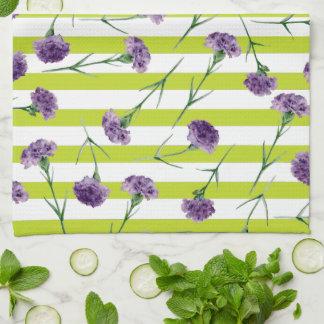 Lime Green Stripes Purple Carnations Pattern Tea Towel
