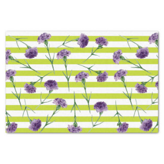 Lime Green Stripes Purple Carnations Pattern Tissue Paper