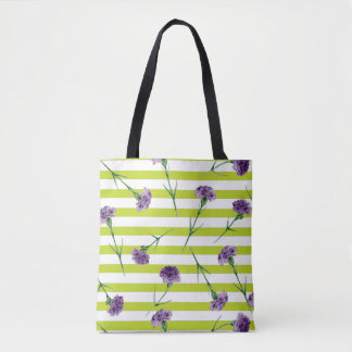 Lime Green Stripes Purple Carnations Pattern Tote Bag