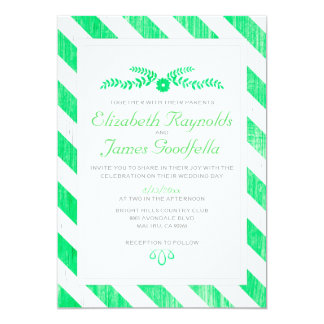 Lime Green Stripes Wedding Invitations