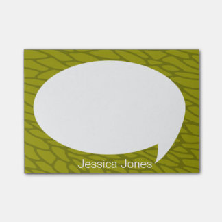 Lime Green Talk Bubble Rounded Personalized Post-it Notes