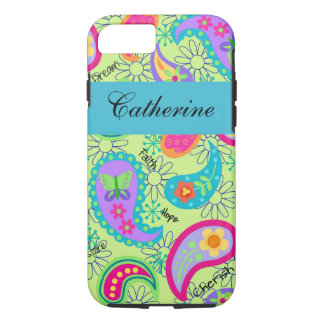 Lime Green Teal Modern Paisley Name Personalised iPhone 7 Case