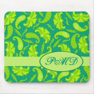 Lime Green Teal Monogram Initials Parisian Paisley Mouse Pad