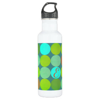 Lime Green Teal Turquoise & Rust Circles Monogram 710 Ml Water Bottle