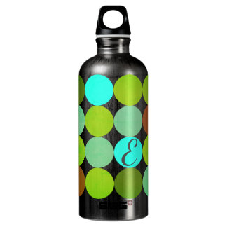 Lime Green Teal Turquoise & Rust Circles Monogram Water Bottle