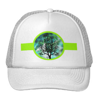 Lime Green Tree Abstract Mountian Scene Hat
