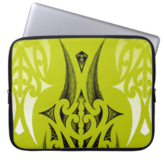 lime green tribal design with feathers computer sleeves