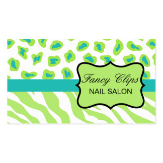 Lime Green Turquoise Blue Zebra Leopard Pack Of Standard Business Cards