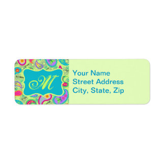 Lime Green Turquoise Modern Paisley Monogram Return Address Label