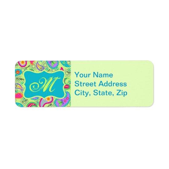 Lime Green Turquoise Modern Paisley Monogram Return Address Label