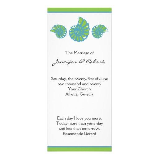 Lime Green Turquoise Seashell Wedding Program Rack Card Design