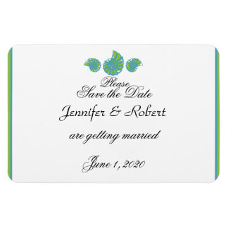 Lime Green Turquoise Shell Wedding Save the Date Magnets