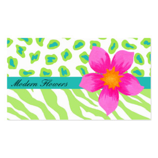Lime Green, & Turquoise Teal Zebra & Cheetah Pack Of Standard Business Cards