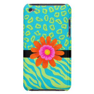Lime Green & Turquoise Zebra & Cheetah Pink Flower iPod Case-Mate Case