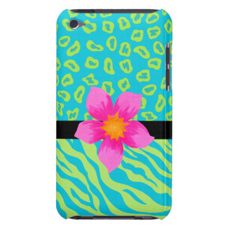 Lime Green & Turquoise Zebra & Cheetah Pink Flower iPod Touch Covers