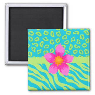 Lime Green & Turquoise Zebra & Cheetah Pink Flower Square Magnet