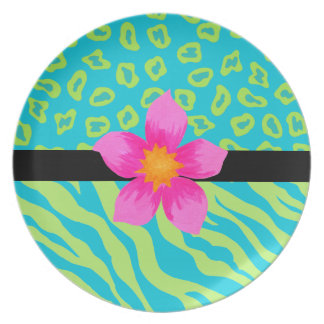 Lime Green & Turquoise Zebra & Cheetah Pink Flower Party Plates