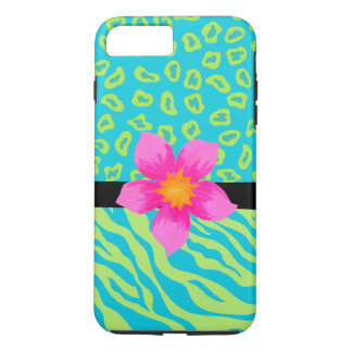 Lime Green Turquoise Zebra Leopard Skin Flower iPhone 7 Plus Case