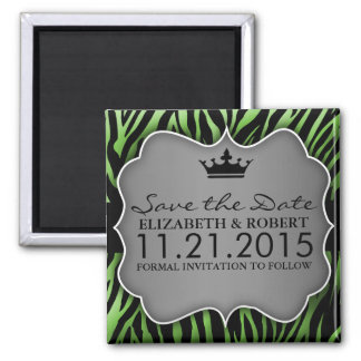 Lime Green Untamed Zebra Print Save the Date Square Magnet