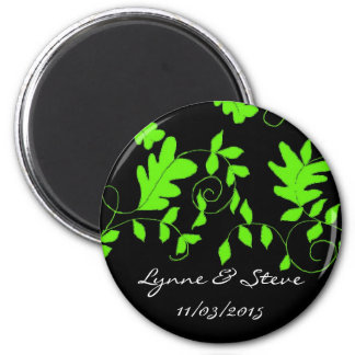 Lime Green Vines on Black Save the Date 6 Cm Round Magnet