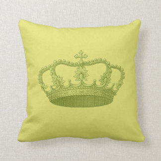 Lime Green Vintage Crown Greenish Yellow Backgrond Throw Pillow