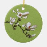 Lime Green Vintage Floral Magnolia