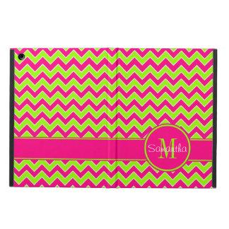 Lime Green w/ Pink Chevron Pattern Custom Monogram iPad Air Covers