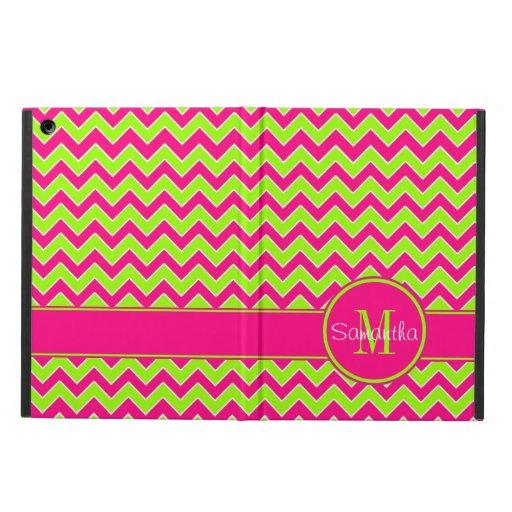 Lime Green w/ Pink Chevron Pattern Custom Monogram iPad Air Cases