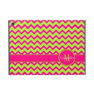 Lime Green w/ Pink Chevron Pattern Custom Monogram iPad Mini Case