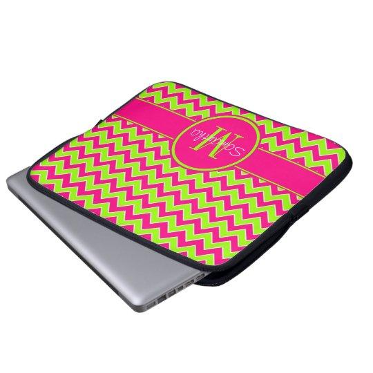 Lime Green w/ Pink Chevron Pattern Custom Monogram Laptop Sleeve