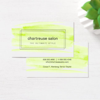 Lime Green Watercolor Boxed Business Card