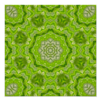 Lime Green Watercolor Mandala Poster