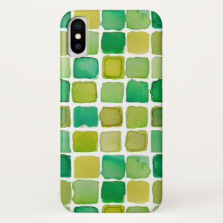 lime green watercolor squares iPhone case