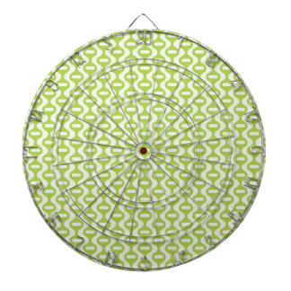Lime Green Wavy Retro Pattern Dartboard