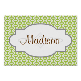 Lime Green Wavy Retro Pattern Posters