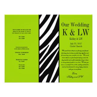 Lime Green Wedding Program Zebra Stripes Pattern 21.5 Cm X 28 Cm Flyer
