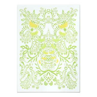 Lime Green WhimsicalBird Wedding Invitations