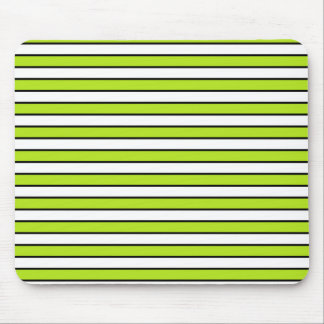 Lime Green, White and Black Stripes Mouse Pad