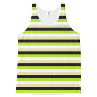 Lime Green, White, Beige and Black Stripes All-Over Print Singlet