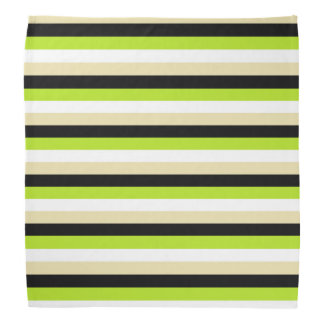Lime Green, White, Beige and Black Stripes Bandana