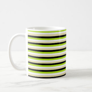 Lime Green, White, Beige and Black Stripes Coffee Mug