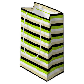 Lime Green, White, Beige and Black Stripes Small Gift Bag