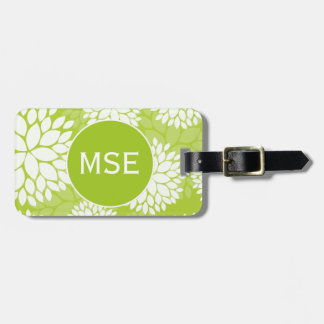 Lime Green White Floral Pattern Luggage Tag