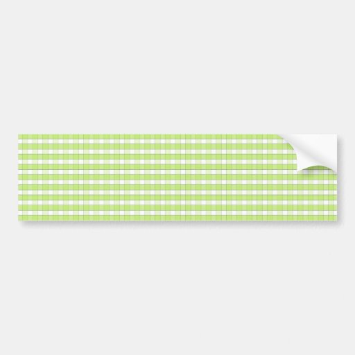 Lime Green White Gingham Check Pattern Background Bumper Stickers