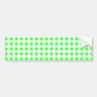 Lime Green White Gingham Pattern Bumper Sticker